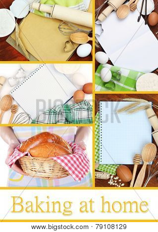 Home baking collage, Baking at home concept