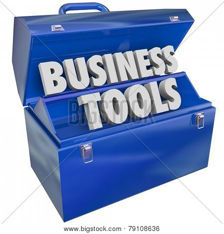 Business Tools 3d words in a blue toolbox to illustrate enterprise resources, management software and applications to help run a company
