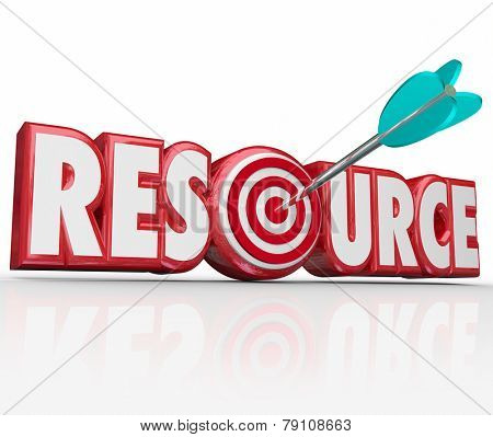 Resource word in red 3d letters with arrow in target bullseye to illustrate an information collection, library or database for you to access