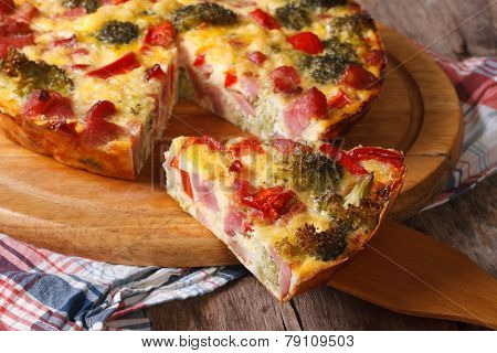 Piece Of Quiche With Broccoli, Pepper, Bacon Closeup