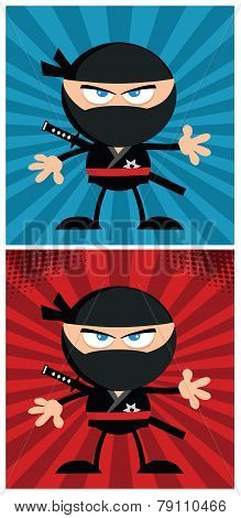 Ninja Warrior Character In Modern Flat Design.  Collection Set 2
