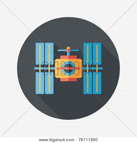 Space Satellite Flat Icon With Long Shadow,eps10