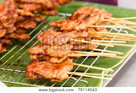 Thai Style Bbq Pork On Metal Sieve.