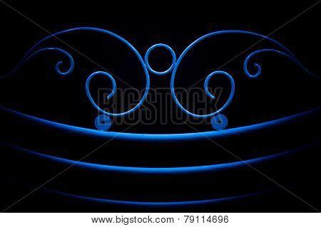 Blue Fence Ornamental Elements On Black Background