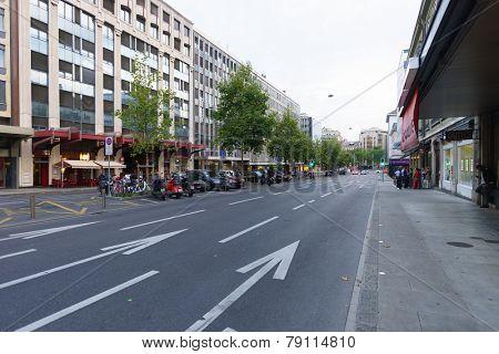 GENEVA - SEP 15: Geneva downtown on September 15, 2014 in Geneva, Switzerland. Geneva is the second most populous city in Switzerland and is the most populous city of Romandy
