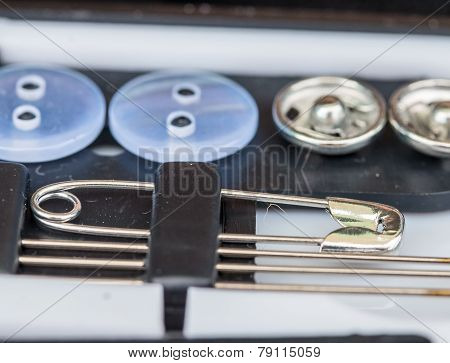 Sewing Buttons Means Tailoring Stitch And Needle