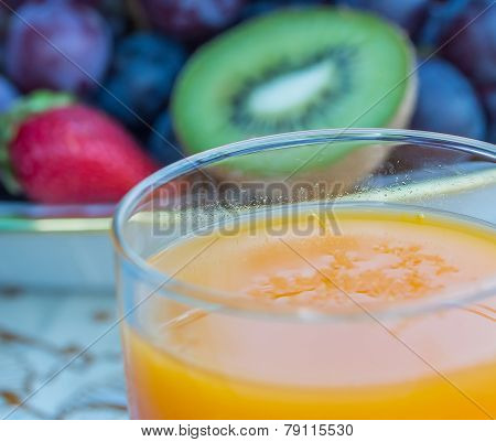 Fresh Orange Juice Represents Kiwi Fruit And Drink
