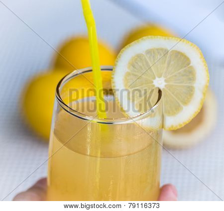 Lemonade Glass Indicates Beverage Refreshing And Tropical