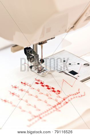 Close up of sewing machine.