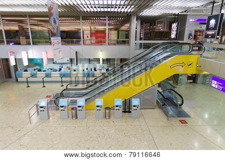 GENEVA - SEP 15: Airport interior on September 15, 2014 in Geneva, Switzerland. Geneva International Airport is the international airport of Geneva, Switzerland. It is located 4 km of the city centre