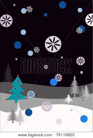 Winter scene with snowflakes