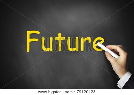 Hand Writing Future On Chalkboard