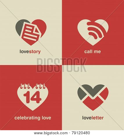 Set of heart shape icons and symbols