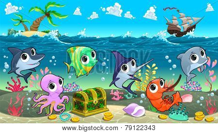 Funny marine animals in the sea with galleon. Vector cartoon illustration
