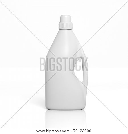3D blank detergent bottle mockup isolated on white
