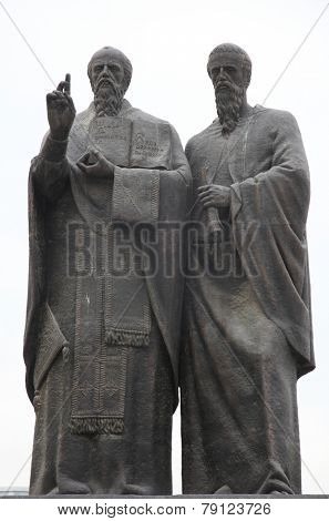 SKOPJE, MACEDONIA - MAY 16: Monument St. Kliment and Naum of Ohrid  in downtown of Skopje, Macedonia on May 16, 2013