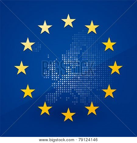 European Union Flag With A Map In The Background