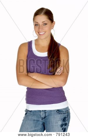 Young Woman in Puple Tank Top with Arms Folded