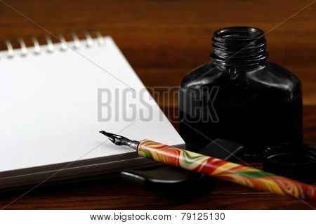 Still Life Shot Of Drawing With Ink