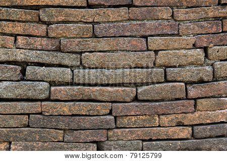 Ancient Brick Wall In Chiang Mai, Northern Thailand