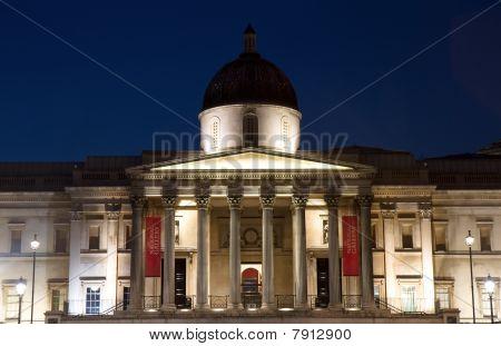 Illuminated National Gallery At Night