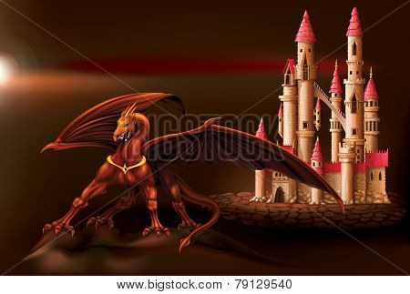 Fantasy Castle And Dragon