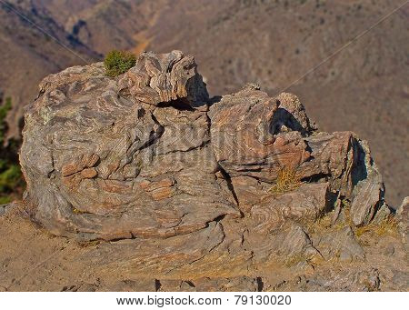Rock above canyon