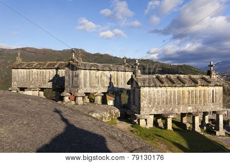 Ancient stone corn driers in Soajo, Portugal