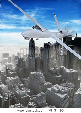 Armed surveillance UAV drone flying over a city