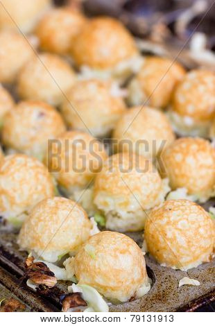 Takoyaki Ball The Japanese Sweetmeat At Food Market.