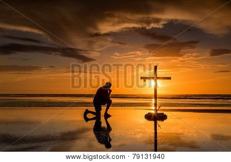 Prayful Cross Sunset