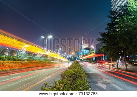 Dramatic Light Trails On The City Road