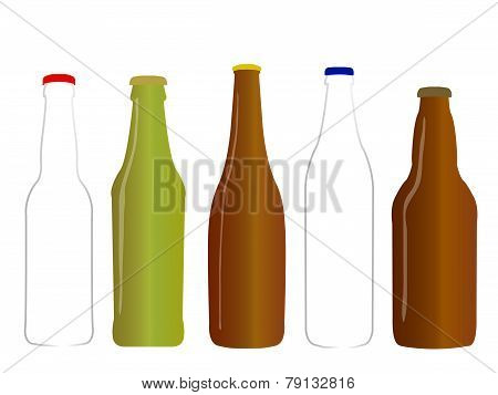 Different Kinds Of Beer Empty Bottles
