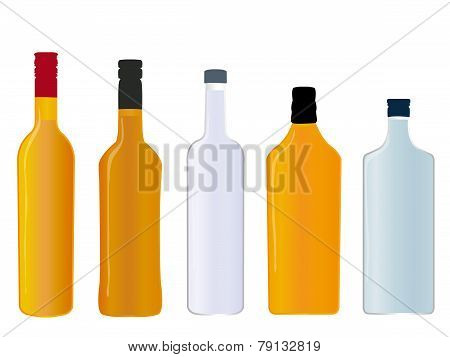 Different Kinds Of Spirits Full Bottles