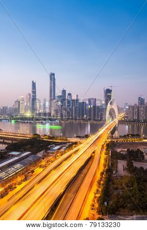 Guangzhou Liede Bridge In Nightfall