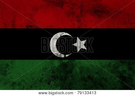Libya flag on grunge paper