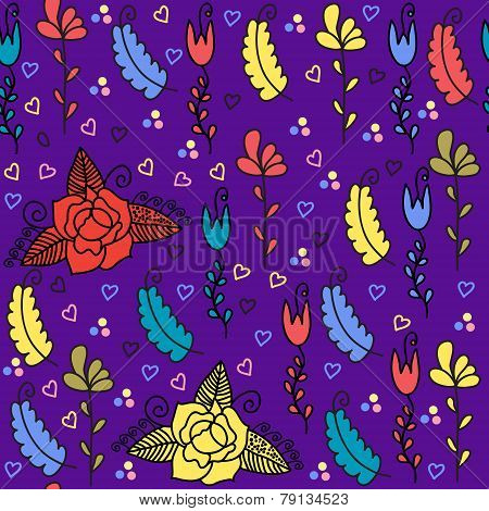 Floral Seamless Pattern And Seamless Pattern In Swatch Menu, Vector Image. Floral Background. Colorf
