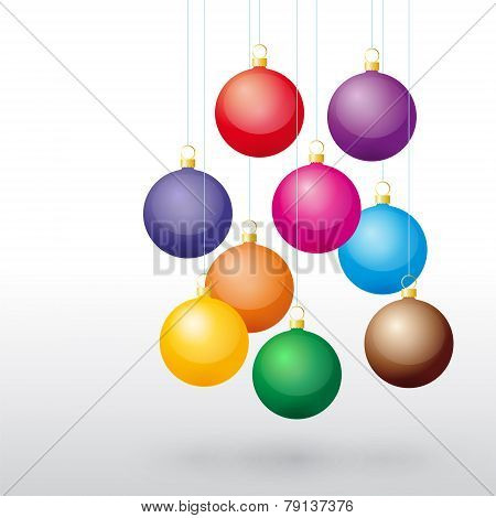 Colorful Christmas Balls On A String