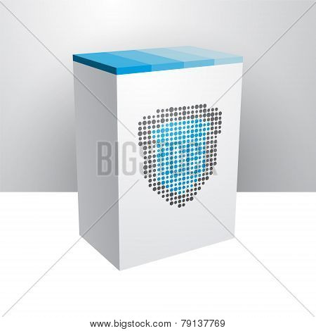 White Box With Blue Shield