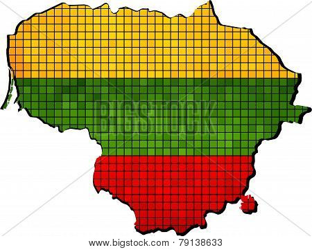 Lithuania map with flag inside