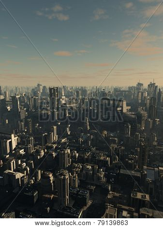 Future City in Late Afternoon Light