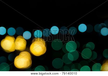 Night City Street Lights. Abstract Circular Bokeh Background