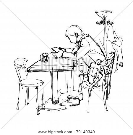 1 Sketch Of Man With The Tablet