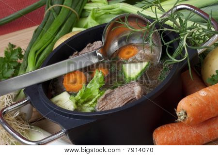 Pan Soup With Beef And Ingredient