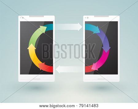 Two Mobile Phones Share Data
