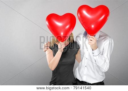 Happy Couple With Balloons Instead Of A Head