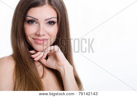 Portrait of a young woman isolated on white background.