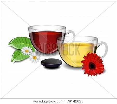 Two Cups Of Tea With Different Flowers Daisies, Gerbera And Sheets Of Tea In The Foreground