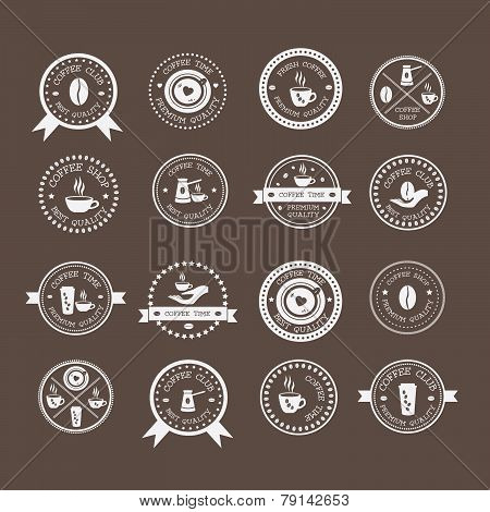 Set Of Vintage Style Elements Of Coffee Shop