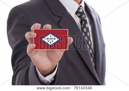 Businessman with Arkansas State Flag